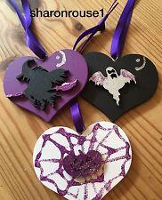 3 Decoraciones De Halloween Bruja Colgante Hecho a Mano Negro Púrpura Calabaza Fantasma