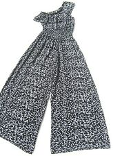 BLACK & OFF WHITE floral Ruffle one shoulder Flared Trousers Romper jumpsuit 10