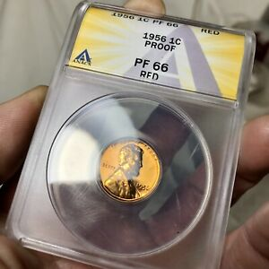"""1956 Proof 1c Certified """"PF 66 Red"""" Lincoln Wheat Back Cent Anacs Graded US Coin"""