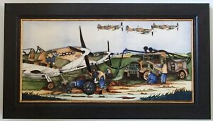 Moorcroft Large Wall Plaque Preparing to Scramble WWII Spitfires Paul Hilditch