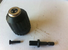 "Drill Chuck Keyless 10mm with 1/4"" Hex End Shank  Adapter"