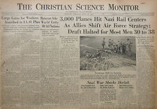 5-1944 WWII May 12 ALLIED PLANES HIT GERMAN CENTERS - DRAFT HALTED  CS Monitor