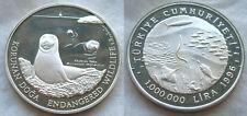 1996 Turkey Large Silver Proof 1000000 lira Seal/Fish