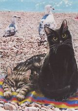 Sunbathing Cats At Beach Blank Greetings Card From Painting By Celia Pike 037