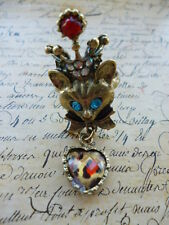 Bronze Cat Kitty Crown Leopard Print Heart Egyptian Costume Jewellery Ring