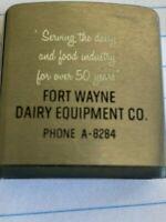 Vtg 60's Zippo Tape Measure Advertising - Fort Wayne Dairy Equipment Co
