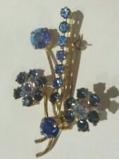 "Stones 2"" (5cm) Flower Spray Brooch 1930s Blue & Rhinestone Multi Faceted"