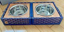 Goyard Blue Dog Bowls Limited Edition Travel Trunk Palladium >$5K New/Imperfect