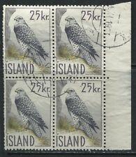 Iceland Bird 25 kronor block of 4 used