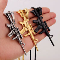 Fashion Style Stainless Steel Sniper rifle Gun Pendant Chain Mens Necklace