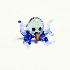 Tiny glass figurine Octopus blue Murano Cuttlefish hand craft Cthulhu. VIDEO