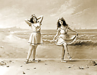 """1902 Portrait of Two Bathing Beauties Old Photo 8.5"""" x 11"""" Reprint"""