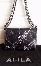 AUTHENTIC NEW ALILA  ARLO MARBLE PRINT CROSS BODY LEATHER BAG IN BLACK RRP $369
