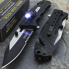 "7.75"" TAC FORCE SHERIFF RESCUE FLASHLIGHT SPRING ASSISTED FOLDING POCKET KNIFE"