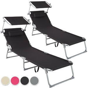 2x Tumbona Playa Set Parasol Asiento Reclinable Reposacabezas Plegable Terraza