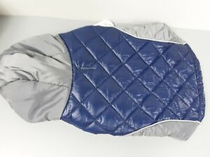 Top Paw Reflective Dog Navy Blue & Gray Quilted Coat Size MEDIUM FREE SHIPPING