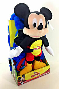 "Disney Jr MICKEY MOUSE 40"" x 50"" Soft THROW BLANKET PILLOW Plush Figure"