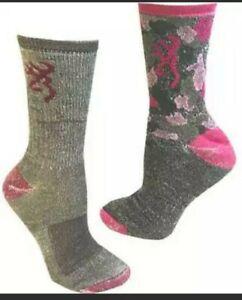 Browning LADIES 2 Pack Wool Blend SOCKS Med Grey/Pink & PINKCAMO