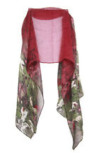 Burgundy Ladies Graphic Green Floral Print Statement Inspired Scarf (S2)