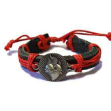 """Blue Heart Leather Surfer Bracelet 8""""L Adjustable"""