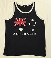 Adult Mens Singlet  Australia Day Souvenir Australian  Flag Navy 100%Cotton