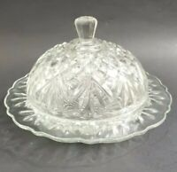 Vintage Anchor Hocking Pineapple Round Butter Dish Pressed Glass Domed- Cheese
