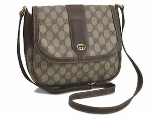 Authentic GUCCI Shoulder Cross Body Bag GG PVC Leather Brown E2601