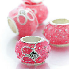 5Pcs Silver Gold Plated Crystal Heart Charm Pink Lampwork Beads Lot Fit Bracelet