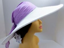 DESIGNER HAT by Caribbean Joe.White w/tag & scarf.Crushable.Wedding,Church,Derby