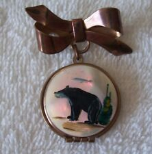 Bear Esquimaux On Mother Of Pearl Vtg Sweetheart Pin Broach Locket Hand Painted