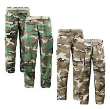 Men's Army Camo Tactical Utility Trousers Camouflage Casual Belted Cargo Pants