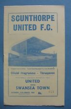 SCUNTHORPE UNITED v SWANSEA TOWN 11th MARCH 1961 LEAGUE DIVISION 2