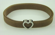 86c1c2208d Tiffany & Co Brown Stainless Steel Somerset Mesh Stretch Heart Charm  Bracelet