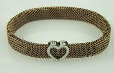 dee9ed4ec Tiffany & Co Brown Stainless Steel Somerset Mesh Stretch Heart Charm  Bracelet