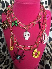 Betsey Johnson 50th 50 Anniversary Lightning Bolt Skull Spider Lipstick Necklace