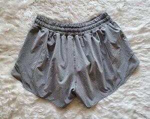 "Lululemon Run Hotty Hot Shorts 4""  Hype Stripe Raceway Grey  Sz 8   EUC!!"