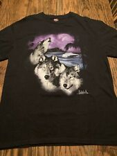 Vintage QUILSILVER T-shirt WOLF Surf Waves Mountains Adult Large EXC./XRARE!!!