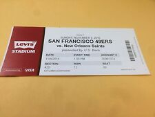 San Francisco 49ers New Orleans Saints RARE Ticket Stub 11/6/2016 Drew Brees
