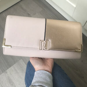 RIVER ISLAND OVERSIZE LARGE PINK NUDE ROSE GOLD FAUX LEATHER RI CLUTCH BAG VGC