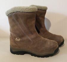 WOMEN Sorel WATER FALL Boots Tan Suede Waterproof Zip Winter Thinsulate 8.5