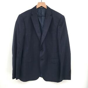NEW Emporio Armani M line 100 wool navy tonal plaid suit jacket sports coat 50R