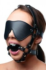 BLINDFOLD MASK BALL GAG Harness head strap mouth face eye cover adult costume