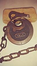 antique/vintage yale 6 lever push key pancake padlock w/key wks gd  w/chain