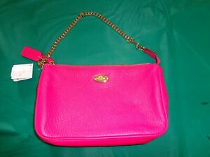 New With Tags Coach Pink Ruby Pebbled Leather Large Wristlet Handbag F53340