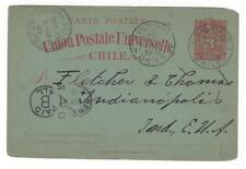 Chile Postal Card 1890 Santiago via Valparaiso and NYC to Indianapolis, IN
