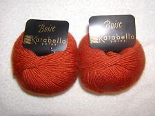 2 SKEINS -Karabella - BOISE 50% CASHMERE~ 50% MERINO -#62-BRICK  326 yds.