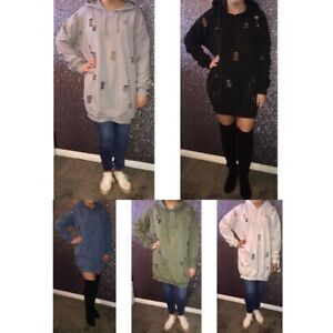 Oversized ripped hooded sweater. £10. One size 8-12. Available in khaki, black,