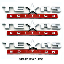 3PC TEXAS EDITION EMBLEM Silver+Red CHEVY SILVERADO SIERRA UNIVERSAL TRUCK DECAL