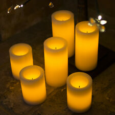 Flamelesss LED Candles - 6 x Battery Operated Ivory Pillar Candles - WITH TIMER