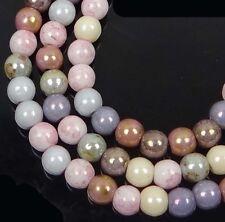 50 Czech Glass Round Beads - Opaque Luster Mix 4mm